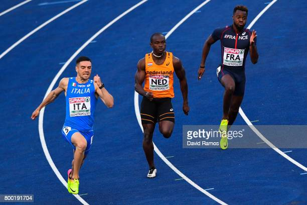 Antonio Infantino of Italy Solomon Bockarie of Netherlands and MickaelMeba Zeze of France compete in the Men's 200m heat 2 during day 1 of the...