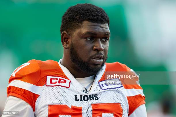 Antonio Johnson of the BC Lions on the sideline during the game between the BC Lions and the Saskatchewan Roughriders at Mosaic Stadium on August 13...