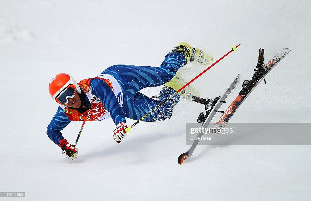 Antonio Jose Pardo Andretta of Venezuela falls during the Alpine Skiing Men's Giant Slalom on day 12 of the Sochi 2014 Winter Olympics at Rosa Khutor Alpine Center on February 19, 2014 in Sochi, Russia.
