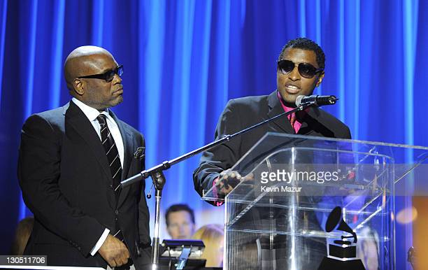 Antonio 'LA' Reid and Kenneth 'Babyface' Edmonds on stage at the 2009 GRAMMY Salute To Industry Icons honoring Clive Davis at the Beverly Hilton...