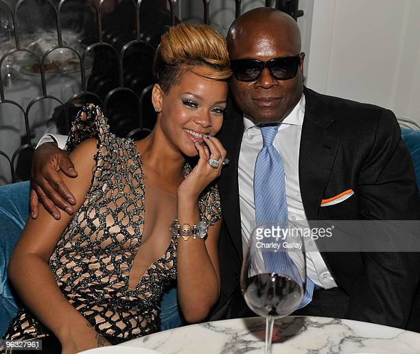 Antonio 'LA' Reid and Rihanna attend Antonio 'LA' Reid's PostGRAMMY Dinner Hosted by JayZ at Cecconi's Restaurant on January 31 2010 in Los Angeles...