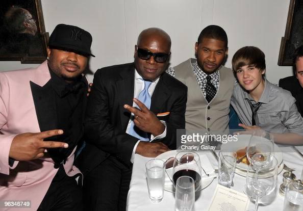 Antonio 'LA' Reid Usher and Justin Bieber attend Antonio 'LA' Reid's PostGRAMMY Dinner Hosted by JayZ at Cecconi's Restaurant on January 31 2010 in...
