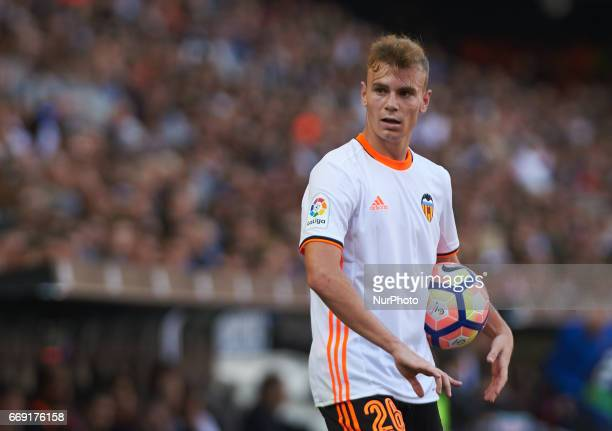 Antonio Lato of Valencia CF looks on during their La Liga match between Valencia CF and Sevilla FC at the Mestalla Stadium on 16th April 2017 in...