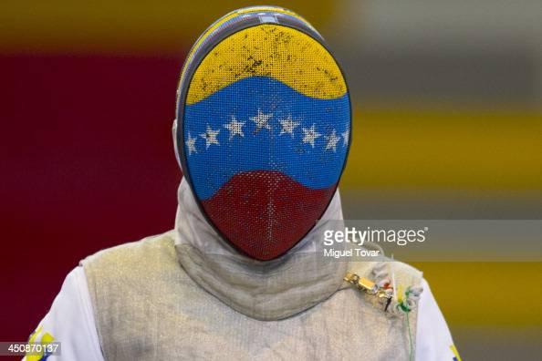 Antonio Leal of Venezuela competes in fencing event as part of the XVII Bolivarian Games Trujillo 2013 at Colegio San JosŽ Obrero Coliseum on...