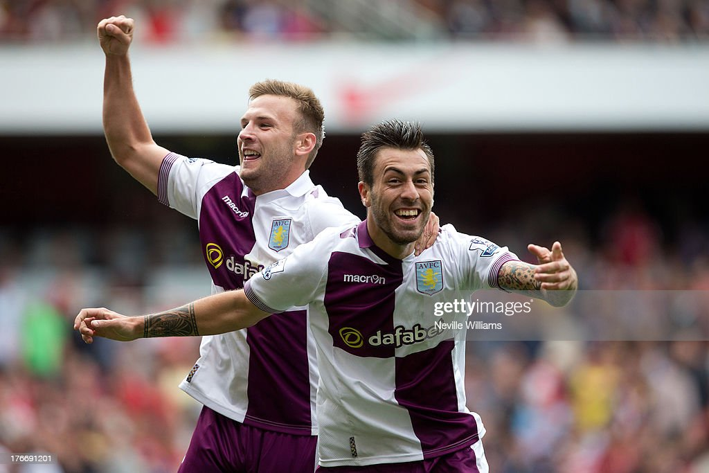 Antonio Luna of Aston Villa celebrates his goal for Aston Villa during the Barclays Premier League match between Arsenal and Aston Villa at Emirates Stadium on August 17, 2013 in London, England.