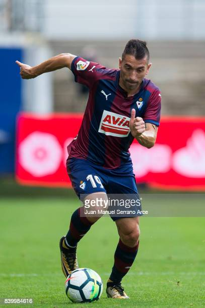 Antonio Luna of SD Eibar controls the ball during the La Liga match between SD Eibar and Athletic Club Bilbao at Estadio Municipal de Ipurua on...