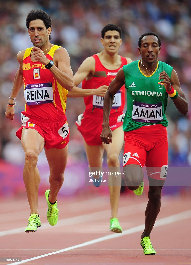 Antonio Manuel Reina of Spain and <a gi-track='captionPersonalityLinkClicked' href=/galleries/search?phrase=Mohammed+Aman&family=editorial&specificpeople=7149144 ng-click='$event.stopPropagation()'>Mohammed Aman</a> of Ethiopia compete in the Men's 800m heat on Day 10 of the London 2012 Olympic Games at the Olympic Stadium on August 6, 2012 in London, England.
