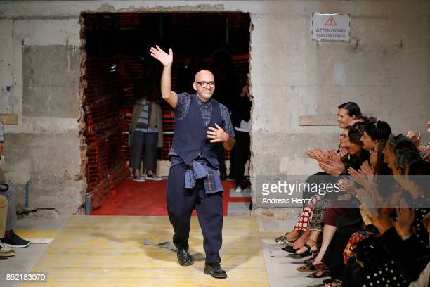 Antonio Marras acknowledge the applause of the audience at the Antonio Marras show during Milan Fashion Week Spring/Summer 2018 on September 23 2017...