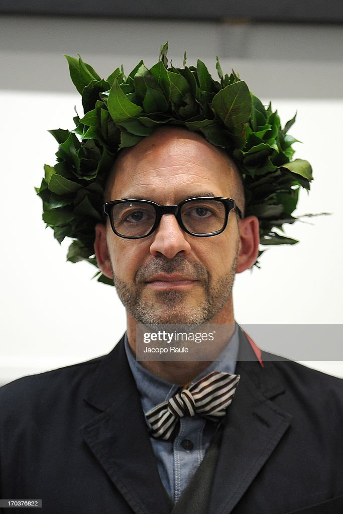 <a gi-track='captionPersonalityLinkClicked' href=/galleries/search?phrase=Antonio+Marras+-+Fashion+Designer&family=editorial&specificpeople=8044699 ng-click='$event.stopPropagation()'>Antonio Marras</a> attends ceremony Honorary Degree From Academy of Fine Arts of Brera on June 12, 2013 in Milan, Italy.
