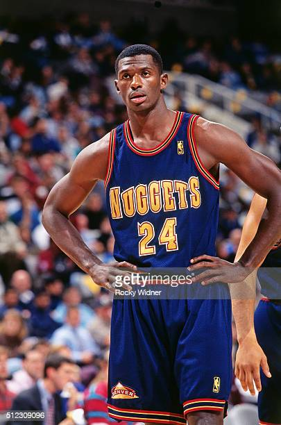 Antonio McDyess of the Denver Nuggets looks on against the Sacramento Kings circa 1997 at the Arena in Oakland in Oakland California NOTE TO USER...