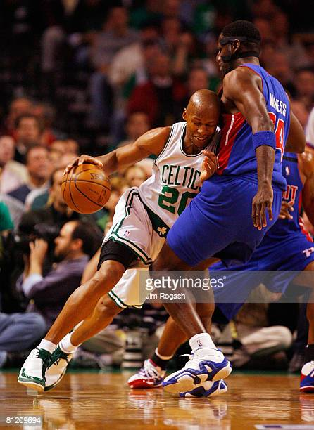Antonio McDyess of the Detroit Pistons defends Ray Allen of the Boston Celtics during Game Two of the 2008 NBA Eastern Conference finals at the TD...