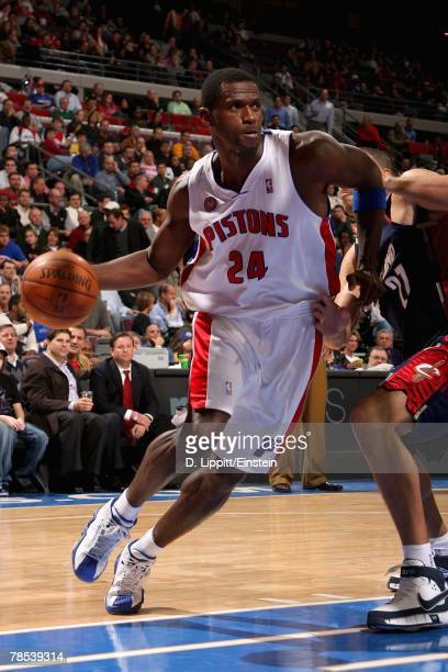 Antonio McDyess of the Detroit Pistons drives to the basket during the game against the Cleveland Cavaliers on November 28 2007 at The Palace of...