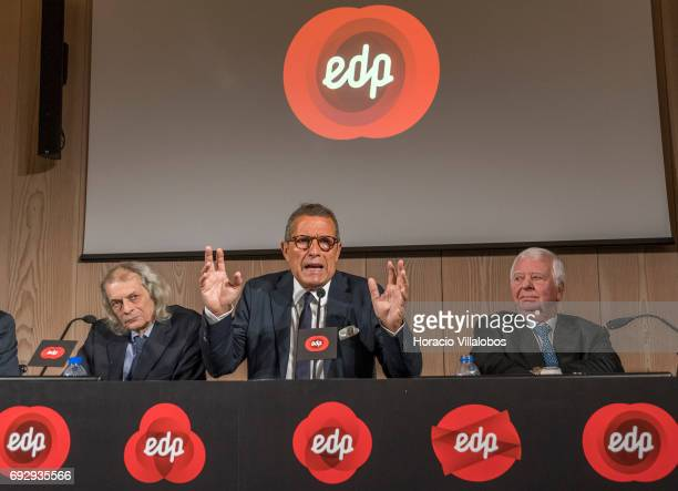Antonio Mexia is flanked by the president of EDP Renewables Joao Manso Neto and EDP chairman of the board Eduardo Catroga while meeting the press to...