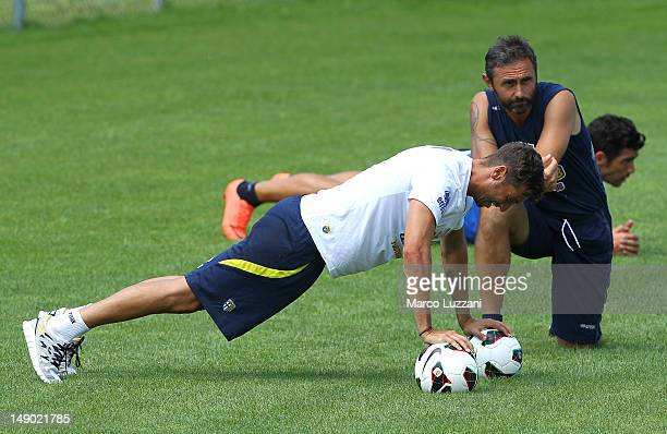Antonio Mirante and Luca Bucci of FC Parma during day nine of the FC Parma preseason training camp on July 22 2012 in Levico Terme near Trento Italy