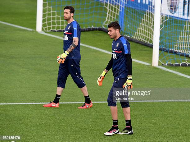 Antonio Mirante and Marco Sportiello in action during the Italy training session at the club's training ground at Coverciano on May 18 2016 in...