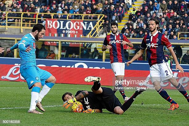 Antonio Mirante goalkeeper of Bologna FC saves his goal during the Serie A match between Bologna FC and SSC Napoli at Stadio Renato Dall'Ara on...