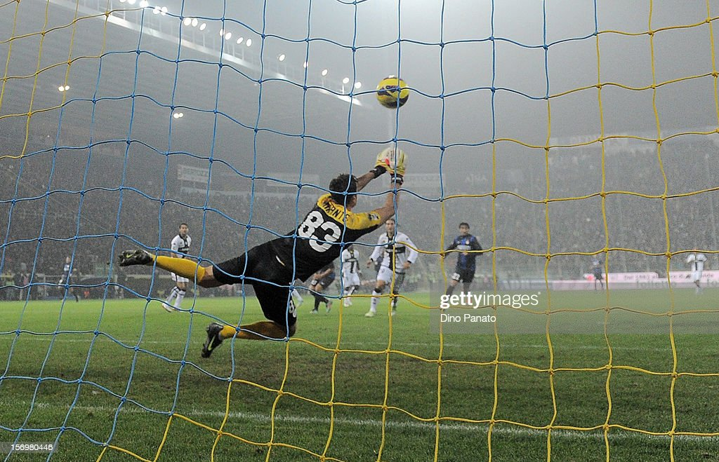 Antonio Mirante goalkeeper of Parma FC in action during the Serie A match between Parma FC and FC Internazionale Milano at Stadio Ennio Tardini on November 26, 2012 in Parma, Italy.