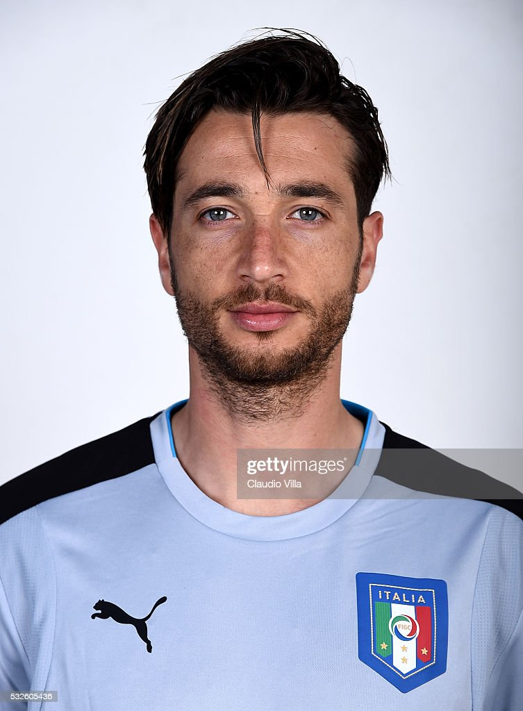 <a gi-track='captionPersonalityLinkClicked' href=/galleries/search?phrase=Antonio+Mirante&family=editorial&specificpeople=2114402 ng-click='$event.stopPropagation()'>Antonio Mirante</a> of Italy poses during the official portrait session at Coverciano on May 19, 2016 in Florence, Italy.