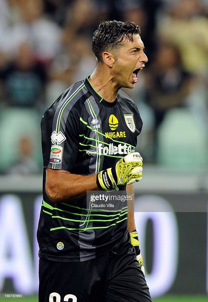 <a gi-track='captionPersonalityLinkClicked' href=/galleries/search?phrase=Antonio+Mirante&family=editorial&specificpeople=2114402 ng-click='$event.stopPropagation()'>Antonio Mirante</a> of Parma FC reacts during the Serie A match between FC Juventus and Parma FC at Juventus Arena on August 25, 2012 in Turin, Italy.