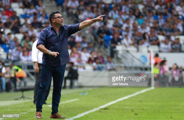 Antonio Mohamed coach of Monterrey gives instructions during the 2nd round match between Monterrey and Veracruz as part of the Torneo Apertura 2017...