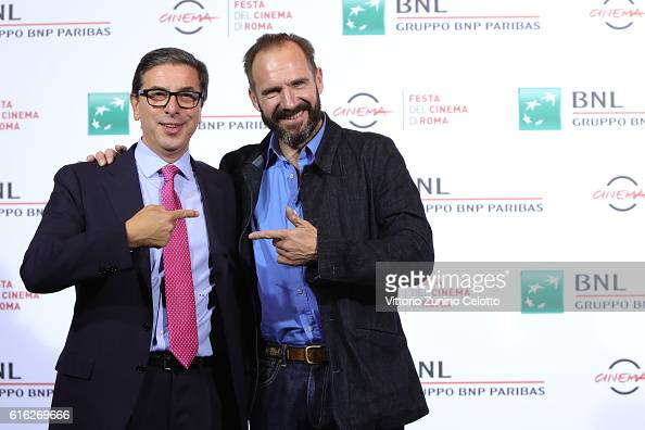 Antonio Monda and Ralph Fiennes attend a photocall for 'The English Patient Il Paziente Inglese' during the 11th Rome Film Festival at Auditorium...