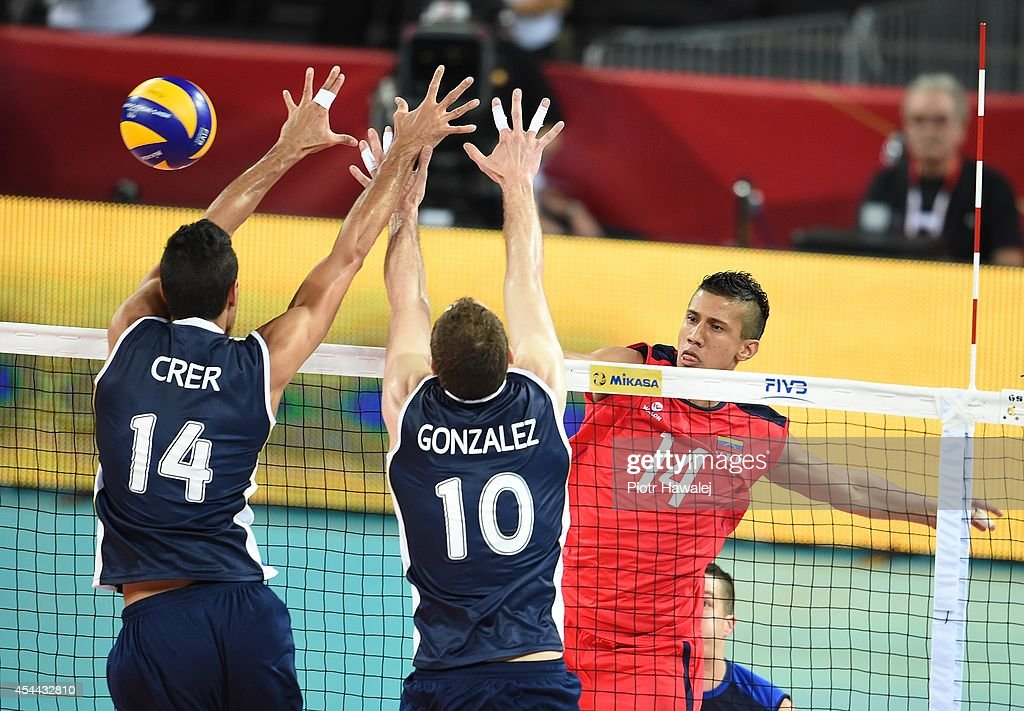 Antonio Montoya of Venezuela spikes the ball during the FIVB World Championships match between Venezuela and Argentina on August 31, 2014 in Wroclaw, Poland.