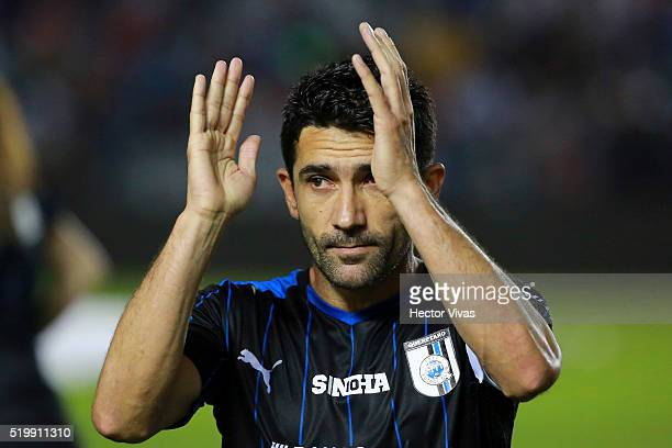 Antonio Naelson of Queretaro claps during the 13th round match between Queretaro and Toluca as part of the Clausura 2016 Liga MX at La Corregidora...