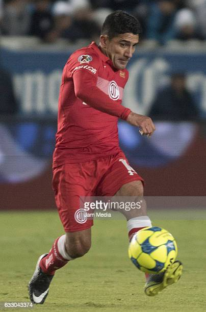 Antonio Naelson of Toluca hits the ball during a match between Pachuca and Toluca the Clausura Tournament 2017 league Bancomer MX at Hidalgo Stadium...