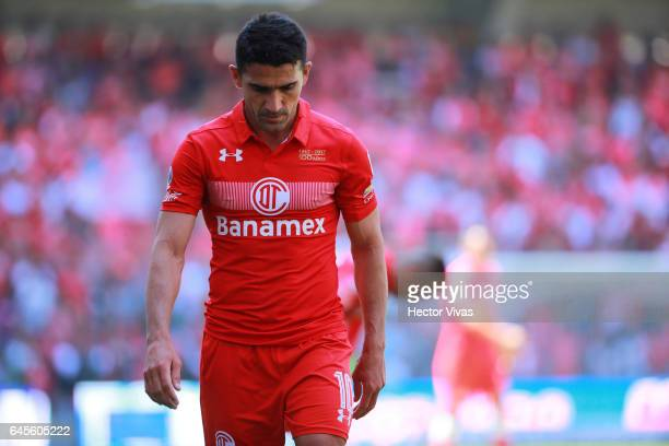 Antonio Naelson of Toluca looks dejected during the 8th round match between Toluca and Puebla as part of the Torneo Clausura 2017 Liga MX at Nemesio...