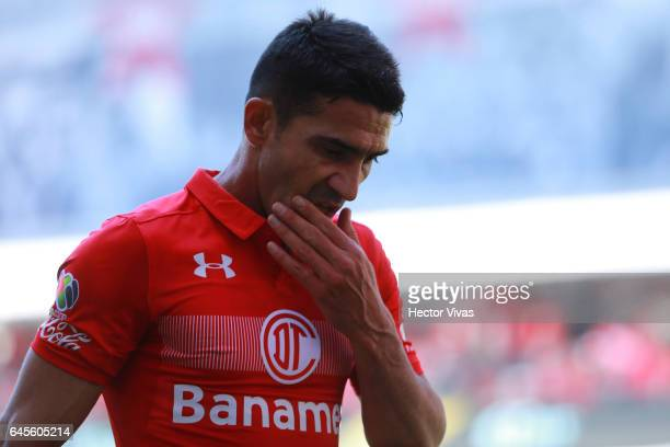 Antonio Naelson of Toluca reacts during the 8th round match between Toluca and Puebla as part of the Torneo Clausura 2017 Liga MX at Nemesio Diez...