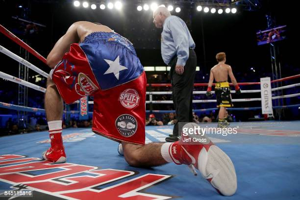 Antonio Nieves receives a ten count after being knocked down against Naoya Inoue of Japan at StubHub Center on September 9 2017 in Carson California