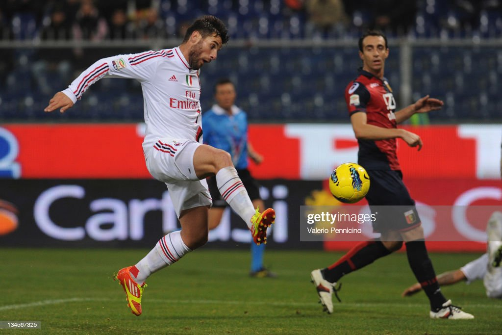 <a gi-track='captionPersonalityLinkClicked' href=/galleries/search?phrase=Antonio+Nocerino&family=editorial&specificpeople=675969 ng-click='$event.stopPropagation()'>Antonio Nocerino</a> of AC Milan scores a goal during the Serie A match between Genoa CFC and AC Milan at Stadio Luigi Ferraris on December 2, 2011 in Genoa, Italy.