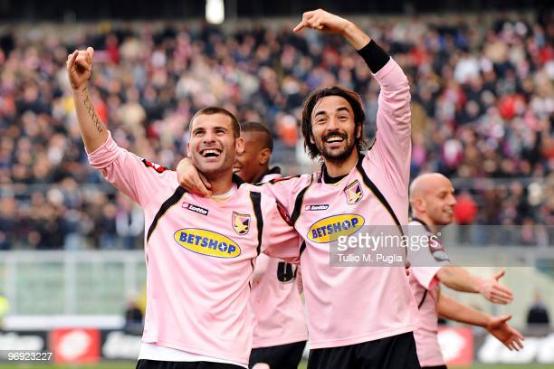 Antonio Nocerino of Palermo and his team mate Mattia Cassani celebrate the third goal during the Serie A match between US Citta di Palermo and SS...