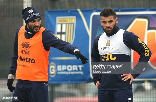 Antonio Nocerino of Parma FC and Francesco Lodi look on during Parma FC training session at the club's training ground on January 20 2015 in...