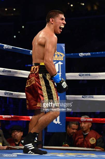 Antonio Orozco celebrates his sixth round knockout of Danny Escobar during a Junior Welterweights fight at Staples Center on November 10 2012 in Los...