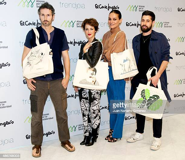 Antonio Pernas Vega Laura Ponte and Moises Nieto attend charity bags presentation at El Corte Ingles on April 23 2014 in Madrid Spain