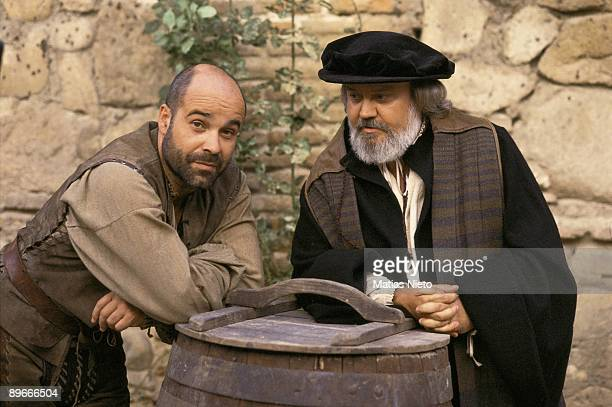 Antonio Resines and Jose Luis Cuerda during the filming of the movie ´La Marrana´