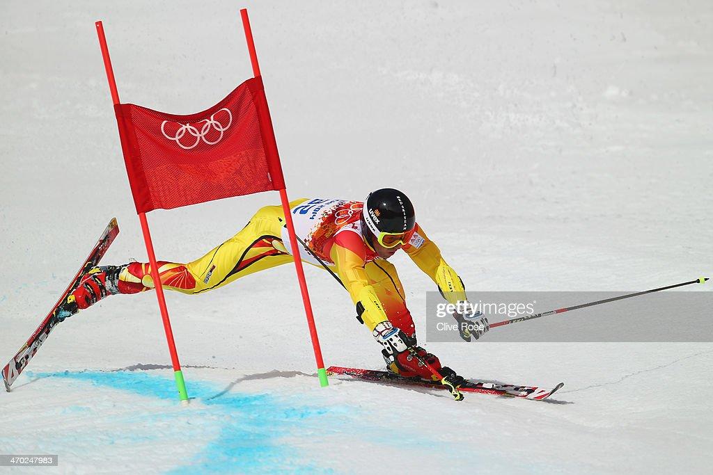 Antonio Ristevski of the Former Yugoslav Republic of Macedonia falls during the Alpine Skiing Men's Giant Slalom on day 12 of the Sochi 2014 Winter Olympics at Rosa Khutor Alpine Center on February 19, 2014 in Sochi, Russia.