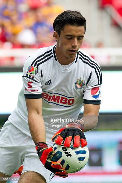 Antonio Rodriguez goalkeeper of Chivas in action during a match between Chivas and Tigres UANL as part of 16th round Apertura 2014 Liga MX at...