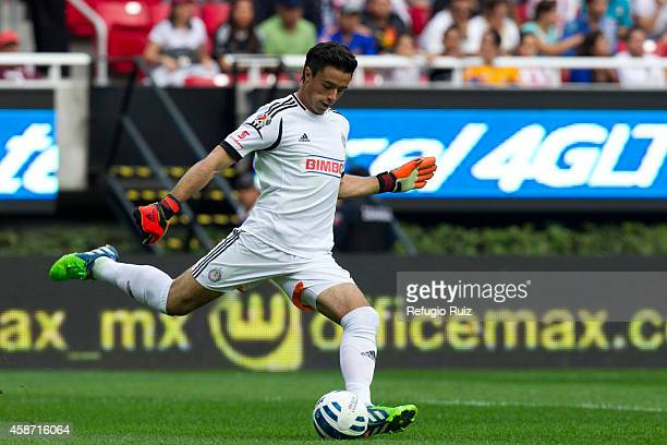 Antonio Rodriguez goalkeeper of Chivas prepares for a kick during a match between Chivas and Tigres UANL as part of 16th round Apertura 2014 Liga MX...