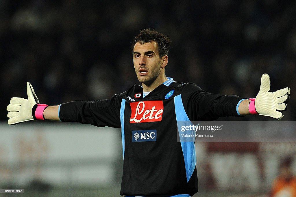 Antonio Rosati of SSC Napoli gestures during the Serie A match between Torino FC and SSC Napoli at Stadio Olimpico di Torino on March 30, 2013 in Turin, Italy.