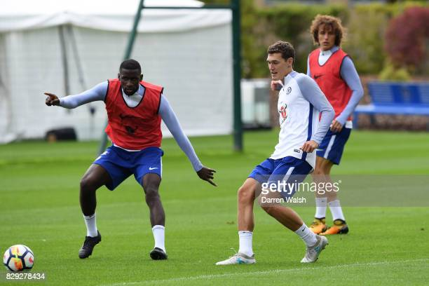 Antonio Rudiger and Andreas Christensen of Chelsea during a training session at Chelsea Training Ground on August 10 2017 in Cobham England