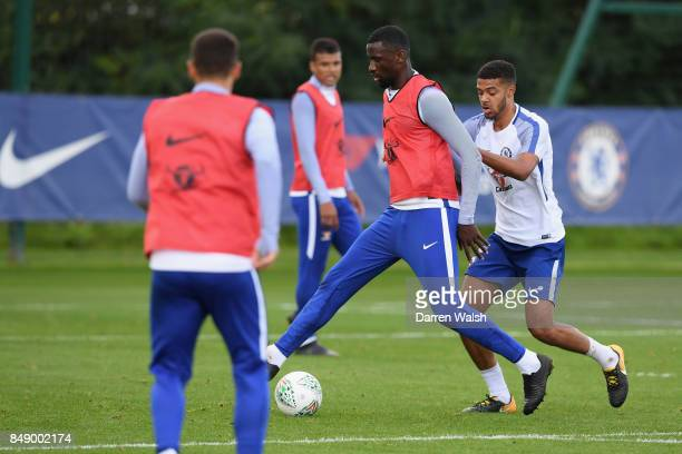 Antonio Rudiger and Jake ClarkeSalter of Chelsea during a training session at Chelsea Training Ground on September 18 2017 in Cobham England