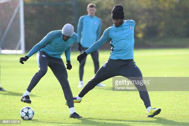 Antonio Rudiger and Michy Batshuayi of Chelsea during a training session at Chelsea Training Ground on October 30 2017 in Cobham England