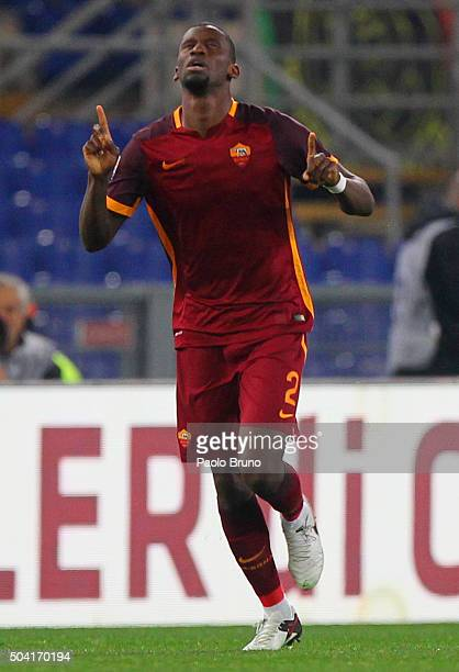Antonio Rudiger of AS Roma celebrates after scoring the opening goal during the Serie A match between AS Roma and AC Milan at Stadio Olimpico on...