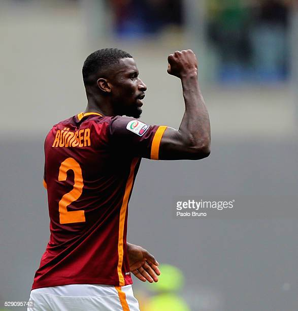 Antonio Rudiger of AS Roma celebrates after scoring the team's second goal during the Serie A match between AS Roma and AC Chievo Verona at Stadio...