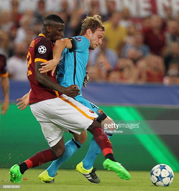 Antonio Rudiger of AS Roma competes for the ball with Ivan Rakitic of FC Barcelona during the UEFA Champions League Group E match between AS Roma and...