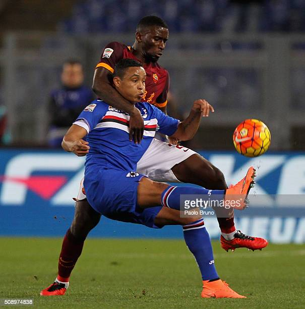 Antonio Rudiger of AS Roma competes for the ball with Luis Muriel of UC Sampdoria during the Serie A match between AS Roma and UC Sampdoria at Stadio...