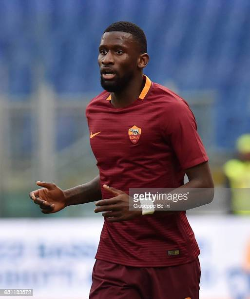 Antonio Rudiger of AS Roma during the Serie A match between AS Roma and SSC Napoli at Stadio Olimpico on March 4 2017 in Rome Italy