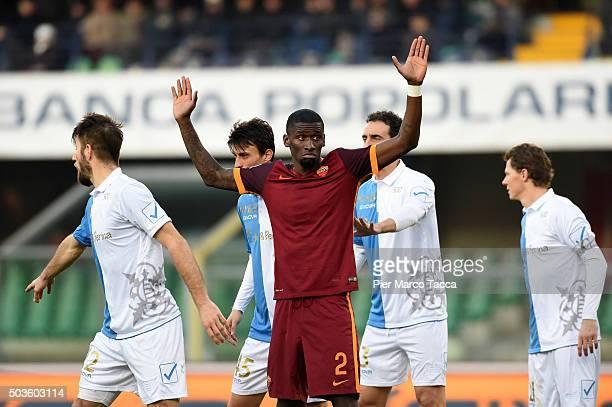 Antonio Rudiger of AS Roma gesture during the Serie A match between AC Chievo Verona and AS Roma at Stadio Marc'Antonio Bentegodi on January 6 2016...